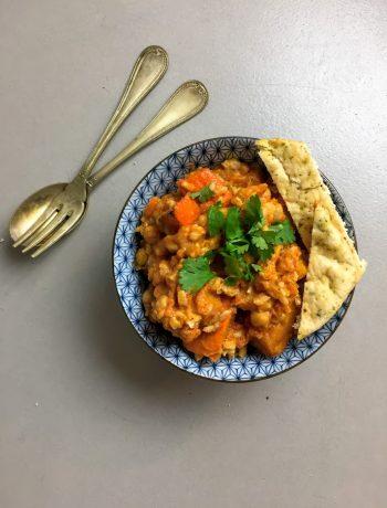 Pompoen tikka masala, curry, indiaas, vegetarisch, recept, groenten, biologisch