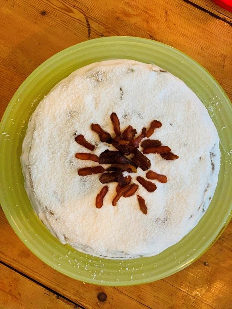 Courgette, kokos, bananentaart, vegan, koemelkvrij, glutenvrij, suikervrij