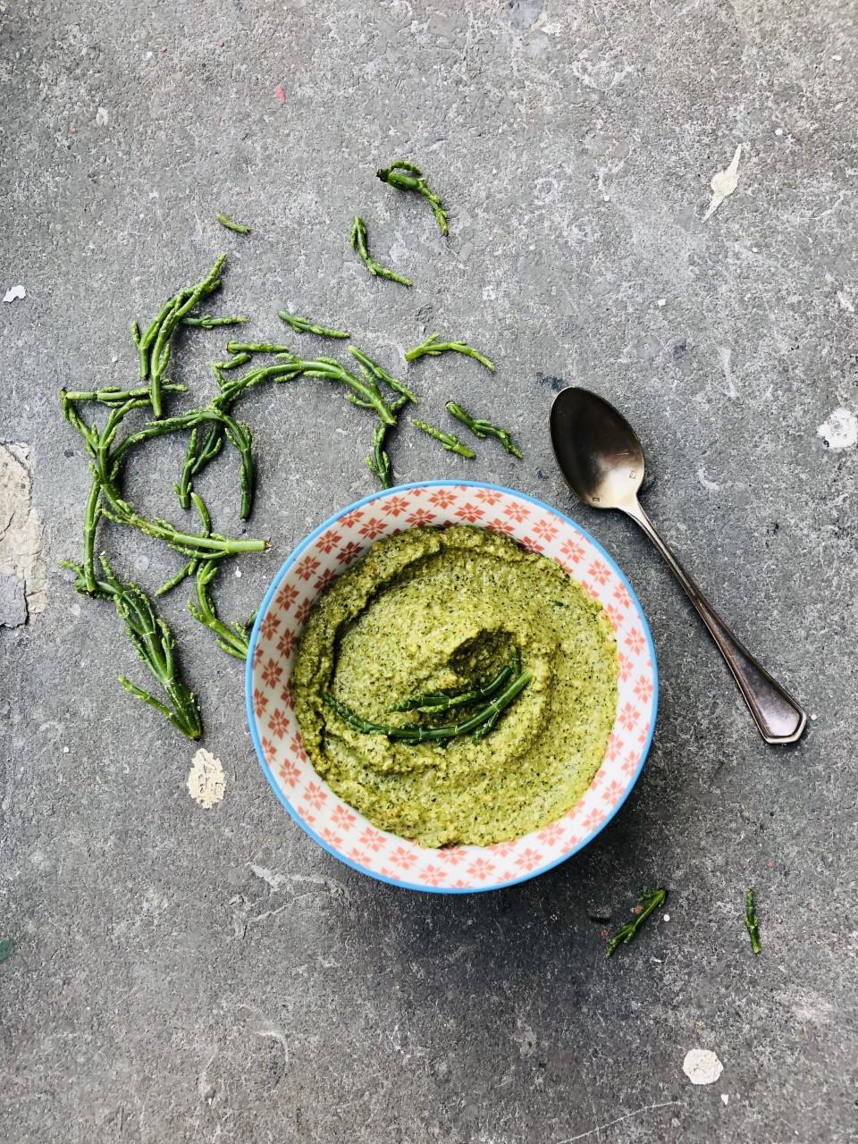 Vegan pesto van zeekraal, recept, makkelijk, vegetarisch, gezond, biologisch, plantaardig