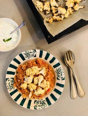 Spelt en bloemkool couscous met tomaat en geroosterde bloemkool, vegetarisch, veganistisch, munt, recept, makkelijk, gezond, biologisch, seizoensgroenten